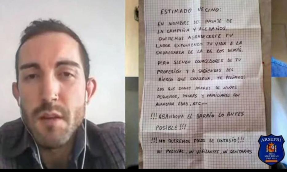 Alberto, vigilante de seguridad, recibe un mensaje de sus vecinos: «Abandona el barrio lo antes posible»