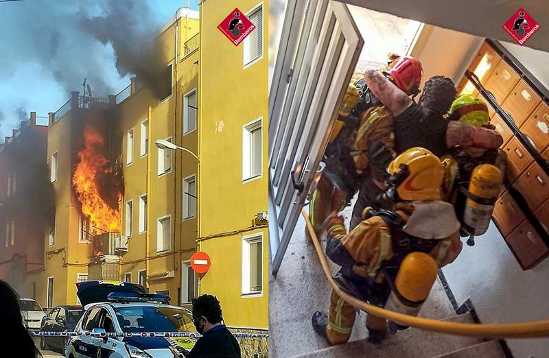 Los bomberos rescatan a varias personas en un incendio de un edificio de Villena (Alicante)