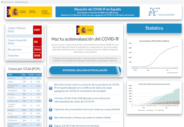 SMS con enlace a una web para realizar una autoevaluación de COVID-19 que te descarga un malware