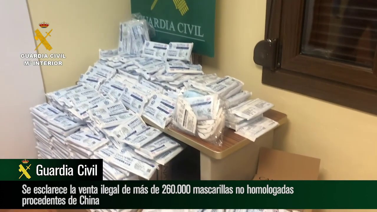 Operación Coronafarma: esclarecida la venta ilegal de 260.000 mascarillas no homologadas