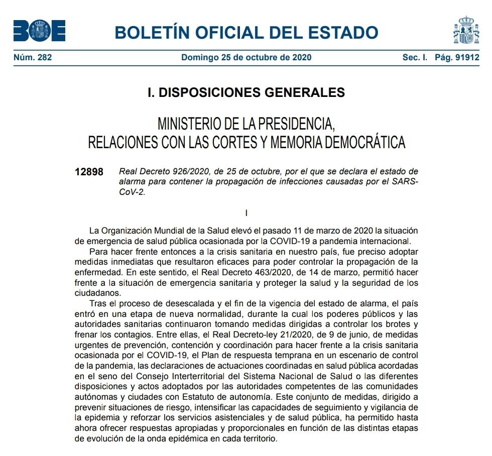 Descarga el decreto por el que se aprueba el Estado de Alarma en España