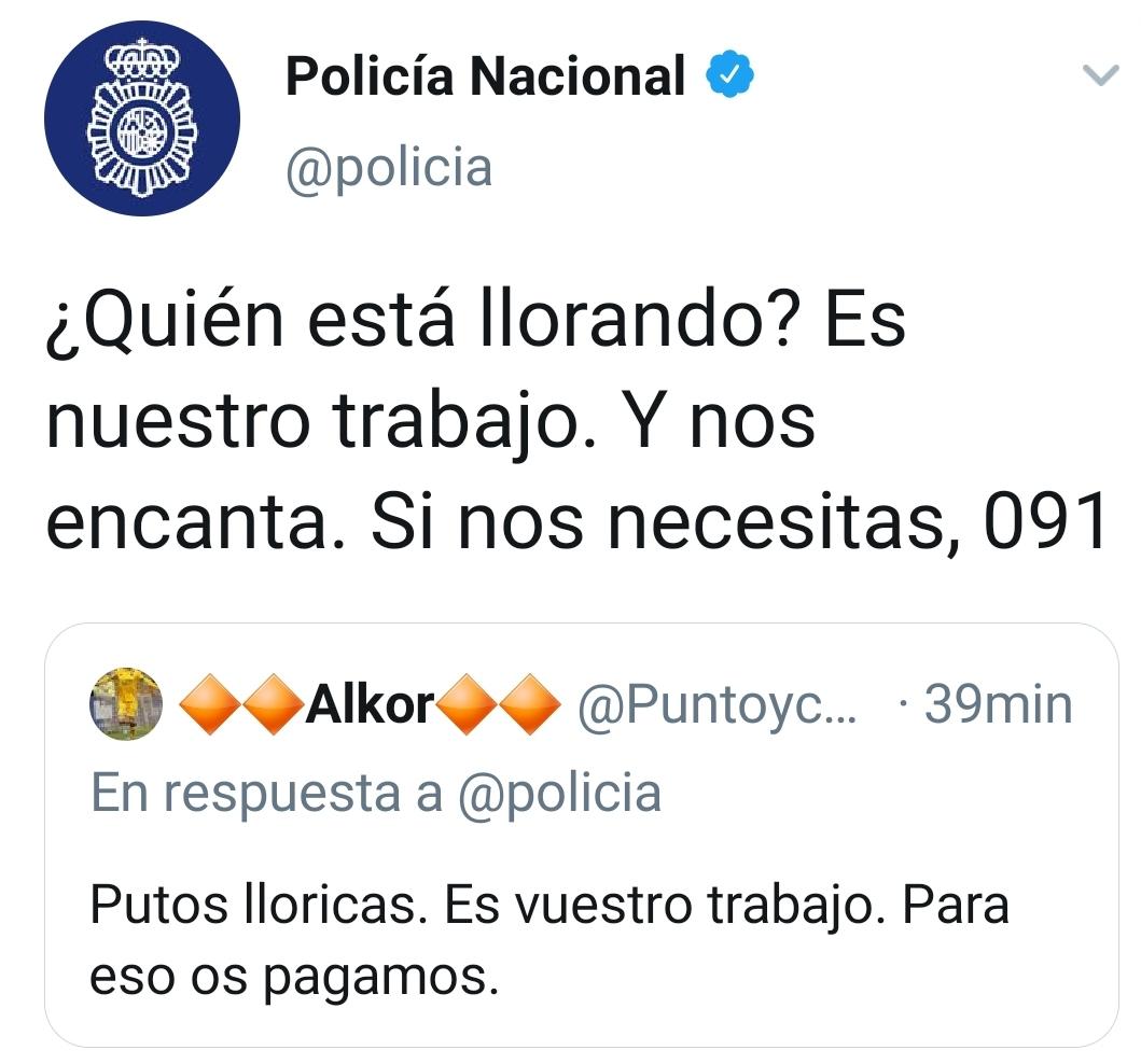 La Policía Nacional responde a un comentario de Twitter que los acusaba de «putos lloricas»