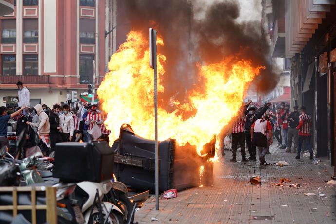 La Ertzaintza abre diligencias por los desórdenes públicos ocurridos ayer en Bilbao