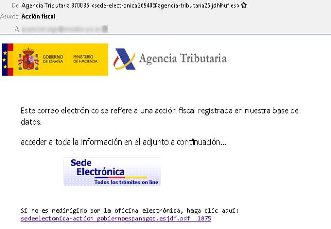 Detectado un correo que suplanta a la Agencia Tributaria para descargar un malware si haces clic