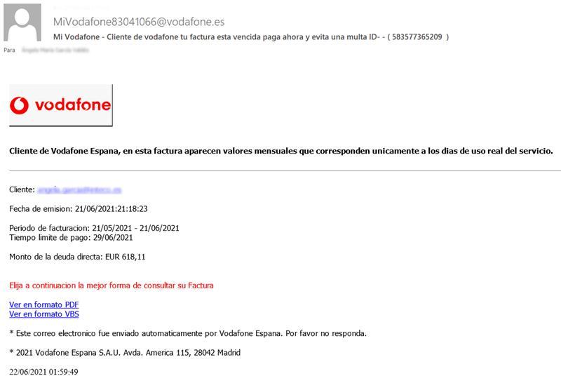 Detectada una campaña de emails suplantando la identidad de Vodafone para que hagas clic en un enlace