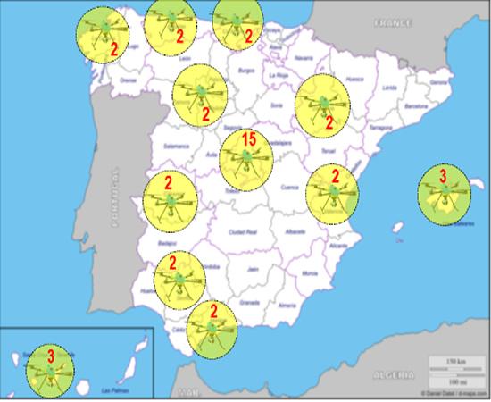 Mapa y número de drones que tendrá cada CCAA para vigilar el tráfico la DGT